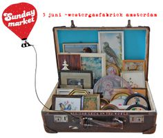 suitcase for small pics and frames display.  antique mall booth.