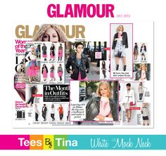 GLAMOUR MAGAZINE! December 2013 issue features Senior Accessories Editor, Elissa Velluto in our White LS Mock Neck, not once but TWICE!