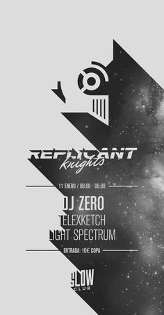 Flyer Design / Replicant Knights B&W Disco / January 11 / Slow Club / Disco, Italo, Synth, 80s. Hi-NRG, Retro