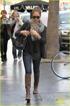 Love this look leather jacket, skinny jeans, animal print scarf, and boots