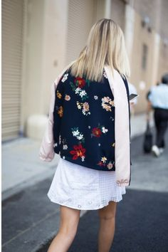 Add interest and edge to a white dress with a very on-trend embroidered bomber jacket. This trick will not only up your summer style ante, but it'll also take you right into fall.
