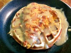 Chicken and waffles with a chicken & maple gravy <3
