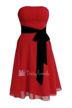 Classic A-line Short Red Formal Bridesmaid Dress Cocktail Prom Dress with Black Sash(BM856)