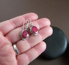 Red Ruby Earrings Sterling Silver Stone by StoneStreetStudio, $28.00
