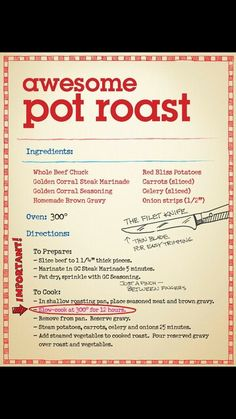 Golden Corral Pot Roast Recipe