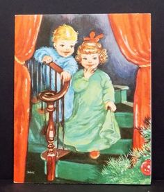 Vintage Christmas Card Greeting Boy & Girl On Green Staircase Christmas Morning | Collectibles, Paper, Vintage Greeting Cards | eBay!