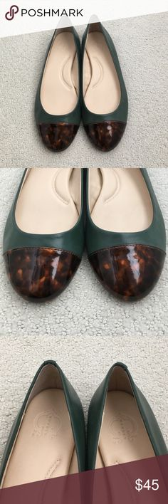 Hunter green with tortoise toe C. Wonder flats C. Wonder flats worn once, only inside. No scratches or scuffs. Green with tortoise cap toe C Wonder Shoes Flats & Loafers