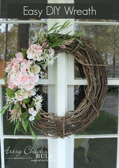 Easy DIY Floral Wreath - So thrifty, made out of leftover greenery and flowers! Done in 10 minutes time too! #wreath artsychicksrule.com