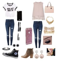 """""""School and date"""" by madisonbanks on Polyvore featuring H&M, Miss Selfridge, Converse, Givenchy, Lancôme, Marc Jacobs, The 2nd Skin Co., Qupid, MICHAEL Michael Kors and Oscar de la Renta"""