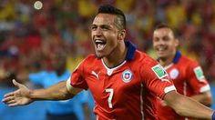 Sanchez celebrates the 3rd goal-Chile 3-1Australia (Beausejour 90+2')