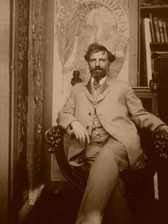 mucha - what a man! Art Nouveau, Alphonse Mucha Art, Art Deco Paintings, Portraits, Belle Epoque, Old Pictures, Love Art, Les Oeuvres, New Art