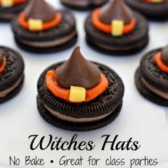 Halloween witches hats recipe - DIY Witches Hat cookies with Oreos and Hershey's kisses! SO clever!