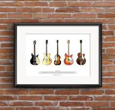 The Beatles Guitars  ART POSTER A2 size