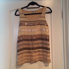 Express sequin tank. Express brown tan with sequins in front sheer layer. All brown/gold tones. Worn once. Express Tops Tank Tops