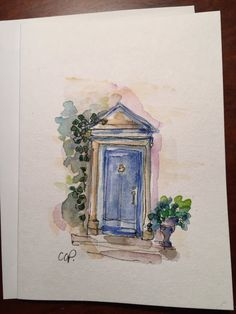 Blue Door Watercolor Card / Hand Painted Watercolor Card  I love inviting doorways. This is a hand painted original watercolor card. The card is 5x7 and is blank inside. I have used ink and watercolor on this card. I have painted it on heavy card stock. Comes with a matching envelope in a protective sleeve.