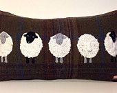 5 Sheep appliqué tweed boudoir cushion
