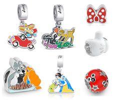 Charms Disney Love: pingentes da Vivara no estilo Pandora com Margarida, Pato Donald, A Dama e o Vagabundo, Branca de Neve, Dunga.