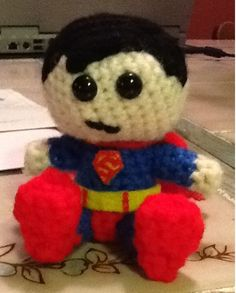 Crocheted Superman that looks like Cartman in a superman costume
