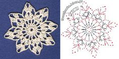 Crochet Motif / Snowflake with accompanying pattern graphic
