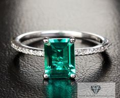 Emerald Cut Emerald Engagement Ring 2.35 CT White Gold Diamond Pave