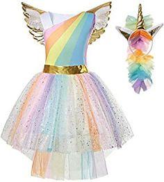 Kids Clothes Kigurumi Girls Birthday Unicorn Party Tutu Dresses with Golden Wing Unicorn Headband Child Princess Dress Unicorn Costume, Unicorn Party, Unicorn Birthday, Unicorn Dress Girls, Rainbow Tutu, Rainbow Unicorn, Kids Tutu, Princess Dress Up, Unicorn Headband