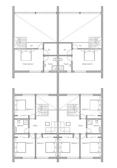 Duplex House in modern contemporary architecture for very narrow lot. Modern House Plan to Modern Family. Town House Floor Plan, Narrow House Plans, Duplex House Plans, Modern House Plans, Semi Detached, Detached House, Garage Dimensions, Villa, Townhouse Designs