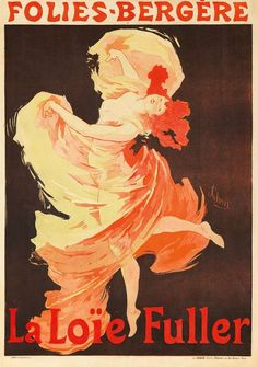 A French Art Nouveau lithograph by Jules Chéret, depicting Loïe Fuller dancing at the Folies Bergere, exuberantly capturing her light-and-motion show, c. 1893.