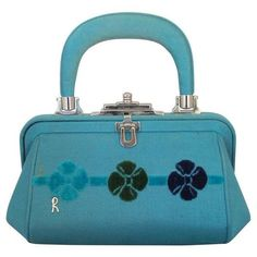 Preowned Roberta Di Camerino 1990's Vintage Small Blue Fabric Bag With... ($725) ❤ liked on Polyvore featuring bags, handbags, blue, flower handbag, roberta di camerino handbags, vintage floral handbags, top handle handbags and floral purse