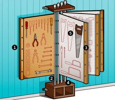 I want to build this for our shop. Tool-O-Dex Plans: Ultimate DIY Tool Rack Typical workshop pegboards are too small for a big tool collection, a pegboard flip book that packs 64 square feet of storage into 8 feet of wall space.