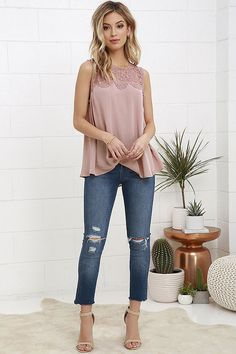 Buy Fashion Summer Women Lace Vest Top Sleeveless Casual Tank Blouse Tops T-Shirt at Wish - Shopping Made Fun Dressy Tops, Casual Tops For Women, Blouses For Women, Lace Crop Tops, Chiffon Tops, Chiffon Blouses, Bluse Outfit, Shirt Bluse, Tunic Tank Tops