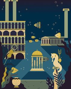 Created some backgrounds for a new Expedition mode in TwoDots. I was inspired by Atlantis for this one #Atlantis #underwater #sea #seahorse #fish #city #Neptune #trident #illustration #twodots #dots #app #game #art by owendaveydraws