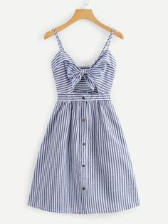 Shop Cut Out Knot Front Striped Dress online. ROMWE offers Cut Out Knot Front Striped Dress & more to fit your fashionable needs. Cute Casual Outfits, Casual Dresses, Summer Outfits, Fashion Dresses, Summer Dresses, Dresses Dresses, Fashion Styles, Mode Boho, Mode Inspiration