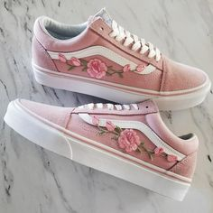 Pink/Pink RoseBuds Custom Vans Old-Skool Sneakers Custom shoes take approximately weeks to make. Vans Sneakers, Vans Authentiques, Tenis Vans, Pink Vans, Sneakers Mode, Vans Shoes, Sneakers Fashion, Fashion Shoes, Golf Shoes