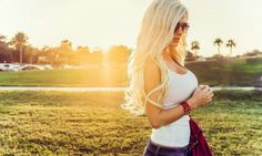 People blonde push-up bras white tops Aida Ridic women women outdoors sunglasses long hair women with glasses Best Club, Bebe Rexha, White Tank, Looking For Women, Peru, Long Hair Styles, Celebrities, Youtube, Patiently Waiting