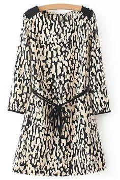 Leopard Pattern Belt Long Sleeve Dress