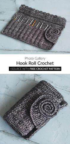Hook Roll Crochet – 2019 how to garden grow idea Crochet Crafts, Crochet Yarn, Crochet Stitches, Crochet Projects, Free Crochet, Crochet Hood, Crochet Shell Stitch, Crochet Hook Set, Knitting Patterns
