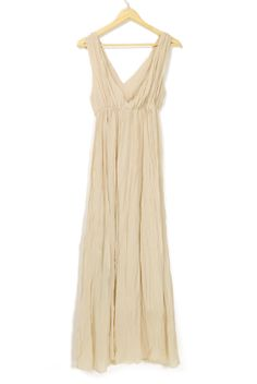 Beige Bohemia Beach Pleated V Neck Chiffon Dress