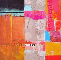 Barbara Ishikura , paint and collage on wood