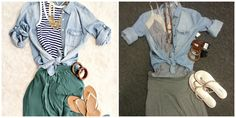 Look what we found for you! @Vanessa Samurio Fairbanks    Blue & White Striped Tank, by Hollister Size M-L $8  Denim Button Up, by Sans Souci, Size S, $6  Grey Maxi Skirt, by GAP, Size XS $8  Flip Flops, by Gianni Bini, Size 8 $6  Assorted Bangles $2 - $3  Assorted Necklaces $4 - $7  Entire Outfit = only $46!