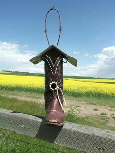 Cowboy boot birdhouse   Www.facebook.com/Off.the.Top.Creations   Country Road Birdhouse album