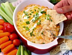 Creamy Ranch Buffalo Chicken Dip:  Lighter on calories but not on flavor!  #FoodDeservesDelicious #shop