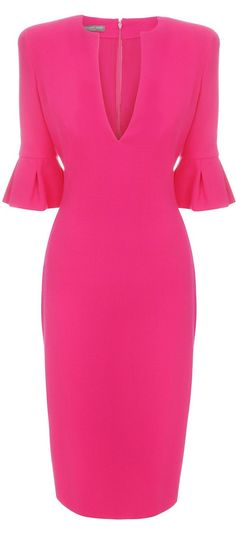 McQueen crepe wool Tulip Sleeve Pencil Dress