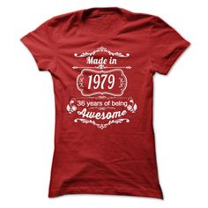 Made in 1979 - 36 Years of Being Awesome Birth years Tshirt T Shirts, Hoodies. Check price ==► https://www.sunfrog.com/Birth-Years/Made-in-1979--36-Years-of-Being-Awesome-Birth-years-Tshirt-9045-Red-25977154-Ladies.html?41382 $19.95