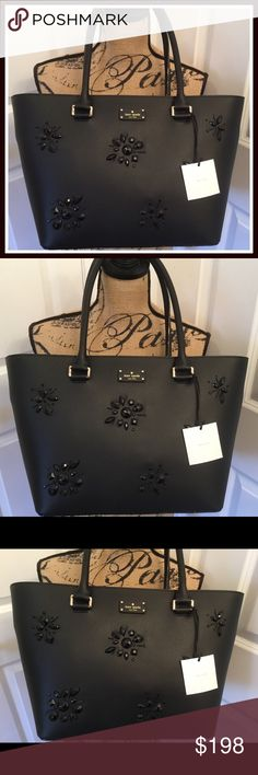 """Kate Spade Grove St Embellished Sm Margareta NWT This is a brand new with tags Kate Spade Grove Street Embellished Small Margareta tote.  Gorgeous black leather with jewels on the front.  Gold hardware.  Measure about 9.8""""h x 11.5""""w x 5.1""""d, drop length: 8.3"""".  This bag is stunning! kate spade Bags Totes"""