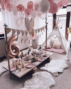 Loving this glamping inspired party setup 💗✨ Do you feel the coziness? Slumber Party Birthday, Sleepover Birthday Parties, Girl Sleepover, Baby Party, Birthday Party Decorations, Birthday Ideas, Girl Spa Party, Baptism Decorations, Pj Party