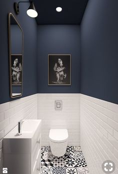 More daring striking dark blue and white...but I like it!!! For the small toilet