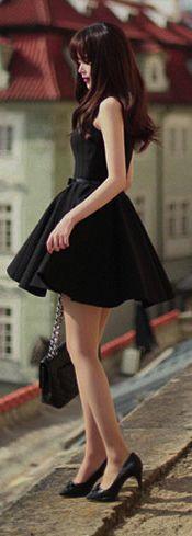 Black Belted Tank Top Skater Dress
