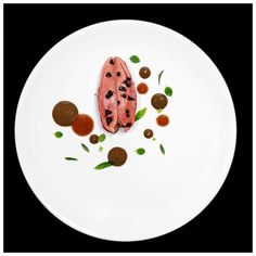 Minamilist dish by Enzo Di Pasquale, pigeon with Taggiasca olives & a…