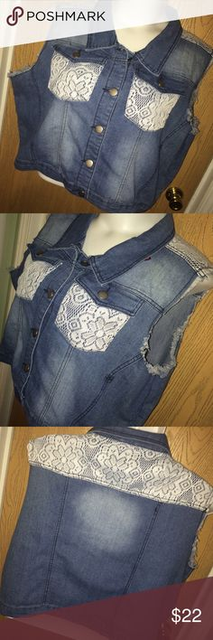 """Cropped denim vest with white lace Brand new cropped denim vest with white lace and frayed detail. Never worn, size tag was cut out but fits like a 3x. 73% cotton 25% polyester 2% spandex. 28"""" from armpit to armpit when closed, 11"""" from armpit to hem. Lucky Diamond Jackets & Coats Vests"""