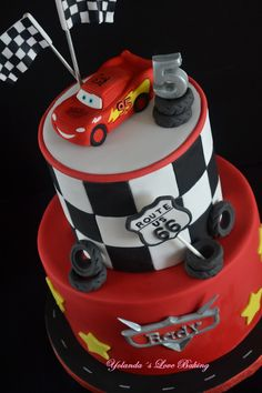 For Rady with love of her parents . Lightning Mcqueen Birthday Cake, Lightning Mcqueen Cake, Disney Cars Party, Disney Cars Birthday, Disney Cars Cake, Car Themed Parties, Cars Birthday Parties, Fondant Flower Cake, Fondant Bow